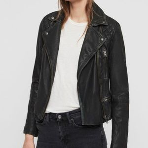 All Saints cargo leather jacket size 2 US